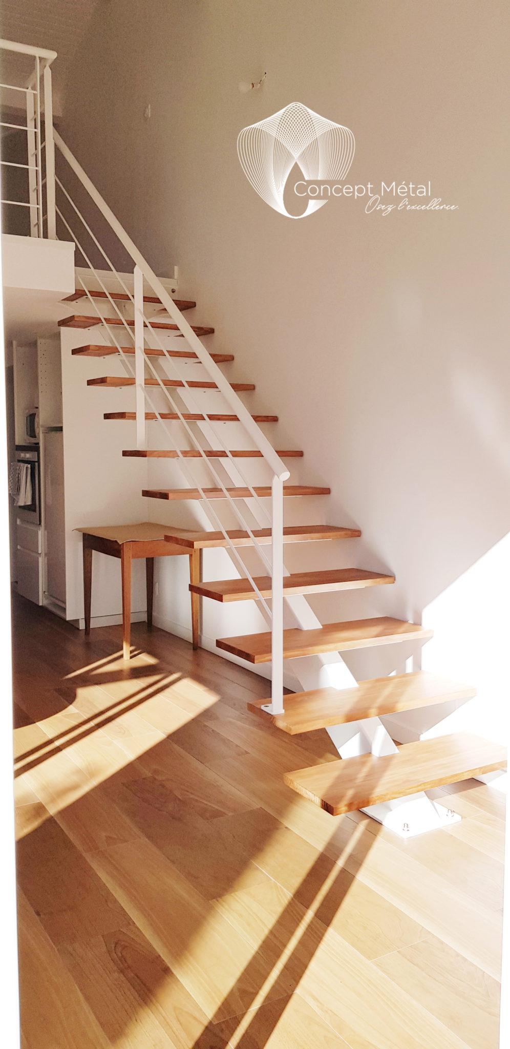 Escalier Droit Métal Bois - Concept Métal - Bordeaux - Bassin d'Arcachon