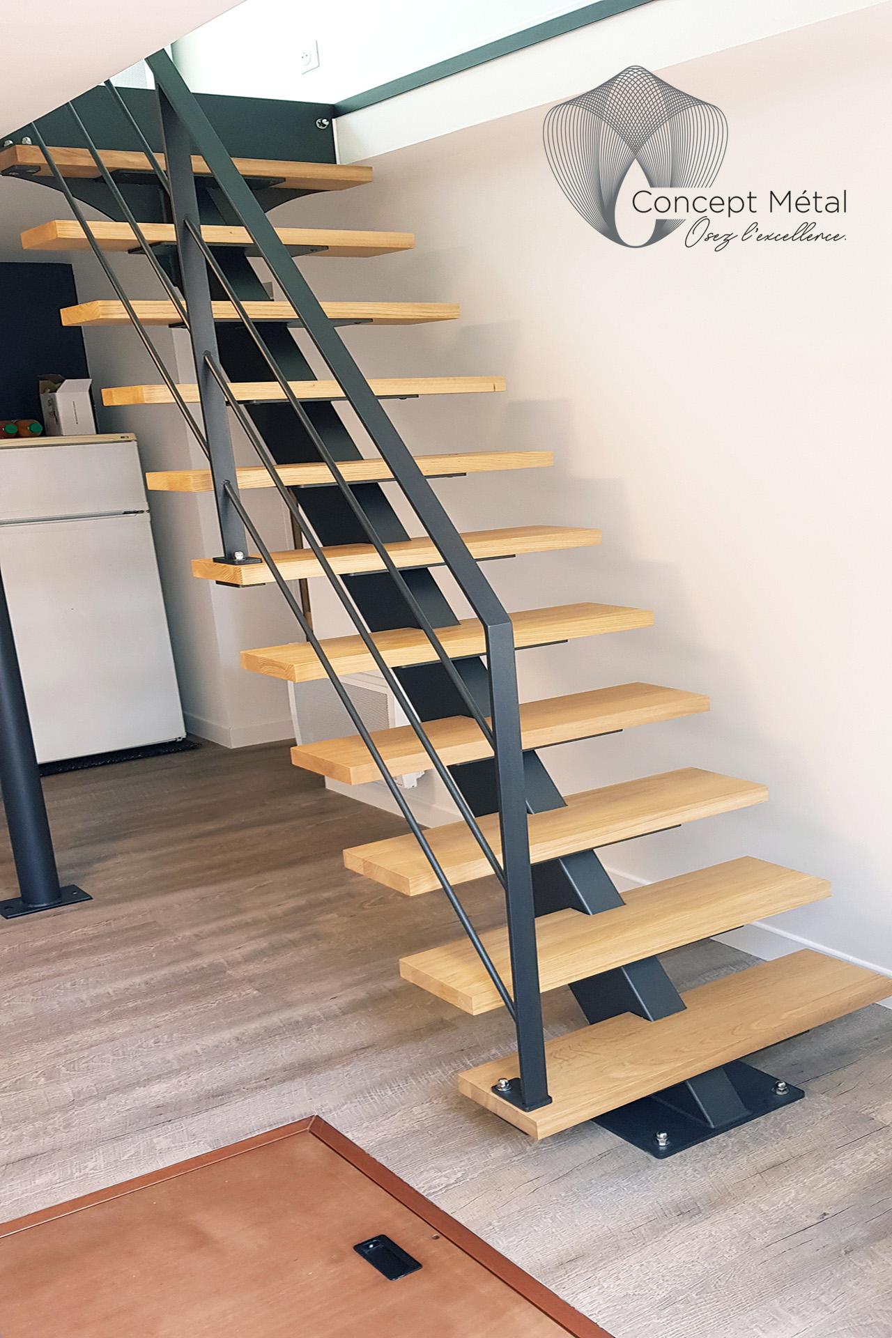 Rampes - Escalier Droit Bois - Concept Métal - Bordeaux - Bassin d'Arcachon